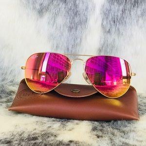 Ray Ban sunglasses gold pink lenses 58mm